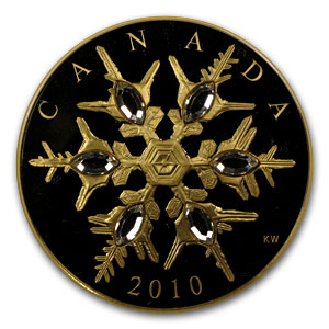 2010 1.13 oz Gold Canadian $300 Crystal Snowflake (W/Box & COA)